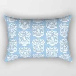 Tiki Pattern Light Blue Rectangular Pillow