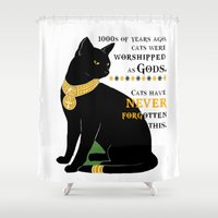 egyptian Shower Curtains featuring Egyptian Cat by SwanniePhotoArt