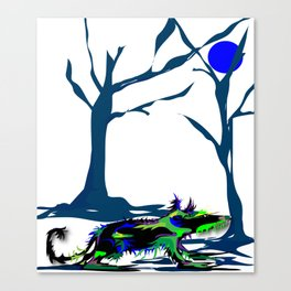 """Wolfdog"" Paulette Lust Original, Contemporary, Whimsical, Colorful Art Canvas Print"