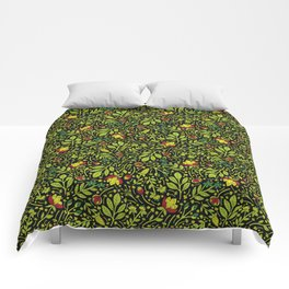 Lime, Dark Green, Red, Black & Yellow Floral Pattern Comforters
