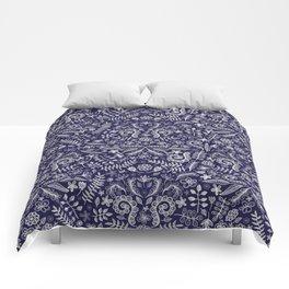 Chalkboard Floral Doodle Pattern in Navy & Cream Comforters