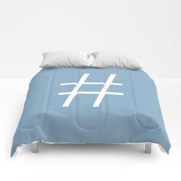number sign on placid blue color background Comforters