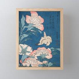 Katsushika Hokusai - Peonies and Canary, 1834 Framed Mini Art Print