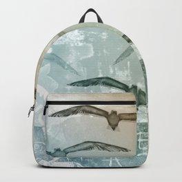 Free Like A Bird Seagull Mixed Media Art Backpack