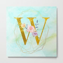 Gold Foil Alphabet Letter W Initials Monogram Frame with a Gold Geometric Wreath Metal Print
