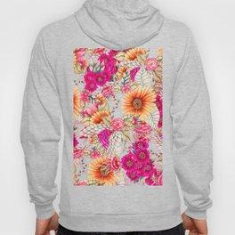 Pink orange spring vintage floral watercolor illustration pattern Hoody