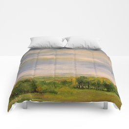 Scenic Autumn Late Afternoon in Vermont Nature Art Landscape Oil Painting Comforters
