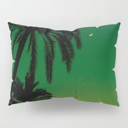 Tropical Palm Tree Silhouette Green Ombre Sunset Crescent Moon At Night Pillow Sham