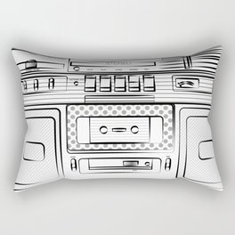 retro tape recorder illustration, cassette playetr drawing, 80s radio Rectangular Pillow