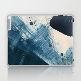 Against the Current [2]: A bold, minimal abstract acrylic piece in blue, white and gold Laptop & iPad Skin