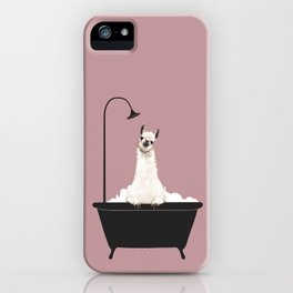 Llama in Bathtub iPhone Case