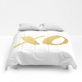kiss &hug gold Comforters
