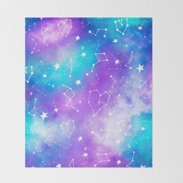 Modern nebula ultra violet watercolor hand painted white constellation stars universe small pattern Throw Blanket