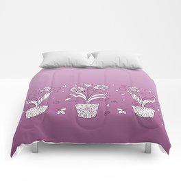 violet contour three zen pots with doodle flowers Comforters