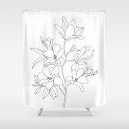 Minimal Line Art Magnolia Flowers Shower Curtain