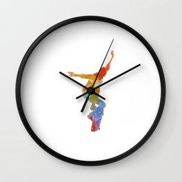 Man skateboard 05 in watercolor Wall Clock