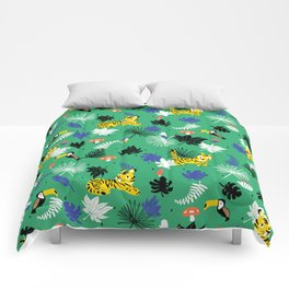 Tropical leaves, Rainforest tigers and toucans Comforters