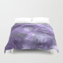 Stormy Abstract Art in Purple and Gray Duvet Cover