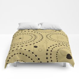 Circles in Circles Design Black on Light Gold Comforters