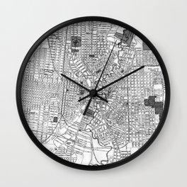 Vintage Map of San Antonio Texas (1909) BW Wall Clock