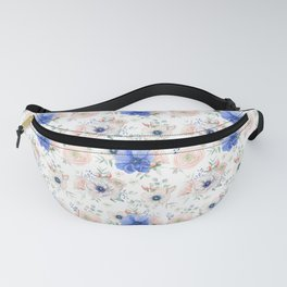 Blue and Pink Garden Flowers Fanny Pack