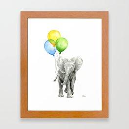 Elephant with Three Balloons Framed Art Print