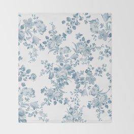Vintage blue white bohemian elegant floral Throw Blanket