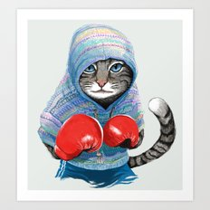 Boxing Cat Art Print