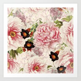 Vintage & Shabby Chic Pink Floral Peonies Flowers Watercolor Pattern Art Print