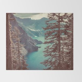 Vintage Blue Crater Lake and Trees - Nature Photography Throw Blanket