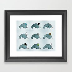 The many hats of Narwhals Framed Art Print