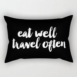 Eat Well Travel Often black and white monochrome typography poster design home decor bedroom wall Rectangular Pillow