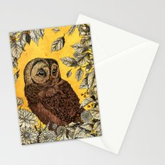 Tawny Owl Yellow Stationery Cards