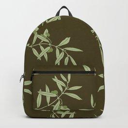 Olive Branch pattern Design - brown Backpack