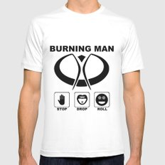 Burning Man - Stop Drop Roll MEDIUM White Mens Fitted Tee
