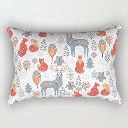 Seamless pattern with winter forest, deer, owl and Fox. The Scandinavian style. Rectangular Pillow
