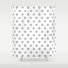 Playstation Controller Pattern (Black on White) Shower Curtain