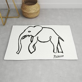 Pablo Picasso, Rare Elephant Drawing, Line Sketch Artwork, Prints, Posters, Bags, Tshirts, Men, Wome Rug