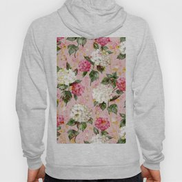 Vintage green pink white bohemian hortensia flowers Hoody