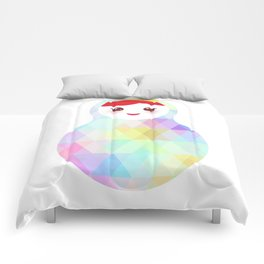Russian doll matryoshka with bright rhombus on white background, rainbow pastel colors Comforters