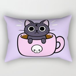 Pastel Coffee Cat Rectangular Pillow