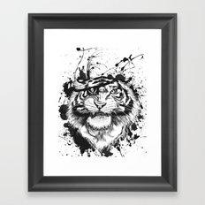 TigARRGH!! (Black and White) Framed Art Print