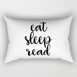 Eat Sleep Read, Wall Art, Art Print, Inspirational Quote Rectangular Pillow