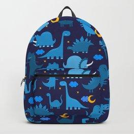 Dinosaurs At Night Blue Dinosaur Kids Pattern Backpack
