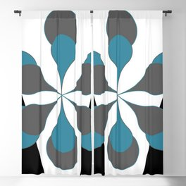 Mid-Century Modern Art 1.4B Grey Aqua Flower Blackout Curtain