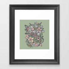 Modern green pink floral handdrawn pattern Framed Art Print