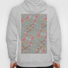 Blue and Pink Floral Pattern (Color) Hoody