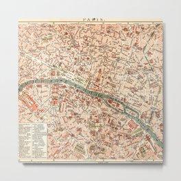 Vintage Map of Paris Metal Print