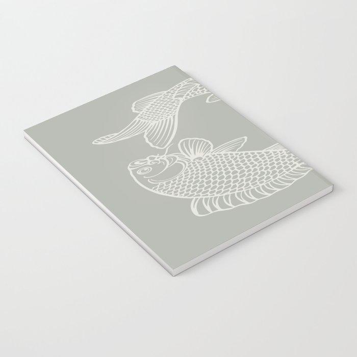 Gray Grey Koi Fishes Notebook