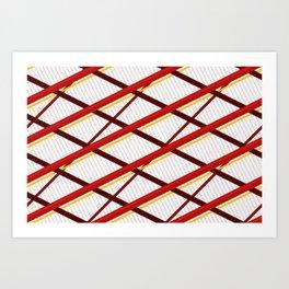Deco Stripes Scarlet Art Print